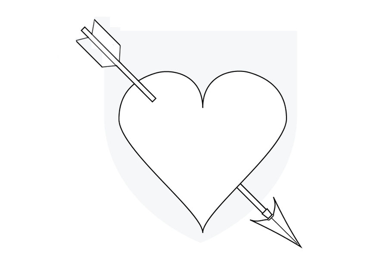 Coloring page Cupid's heart