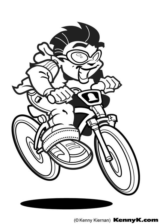Coloring page cyclist