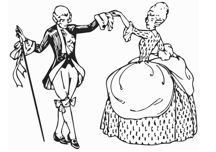 Coloring page dance - minuet