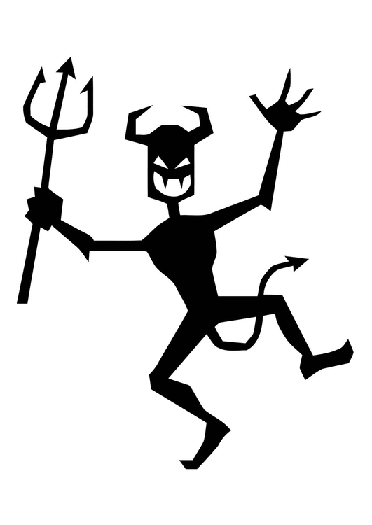 Coloring page dancing devil