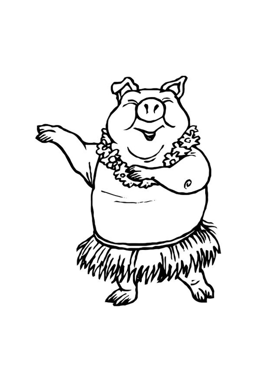 Coloring page dancing pig