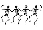 Coloring page dancing skeletons