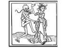 Coloring page dancing with death