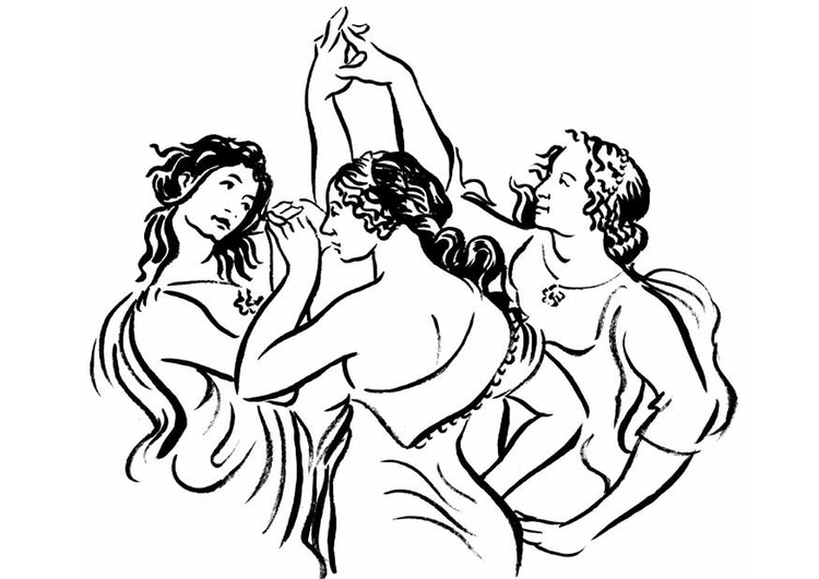 Coloring page dancing women