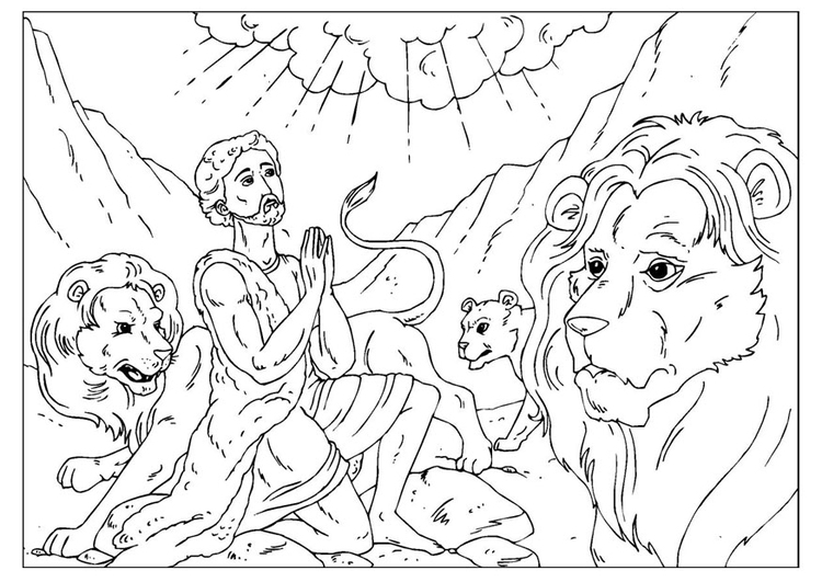 Coloring page Daniel in the lions' den