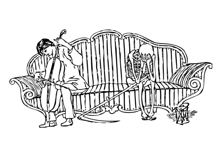 Coloring page death mourns