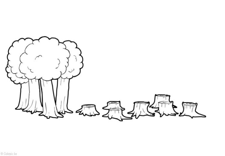 Coloring page Deforestation