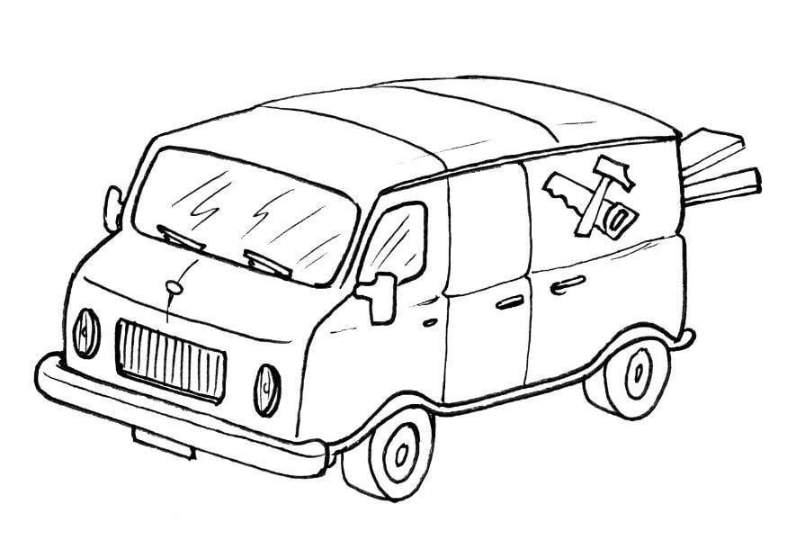 Kleurplaat Garfield In Auto Coloring Page Delivery Van Img 8205