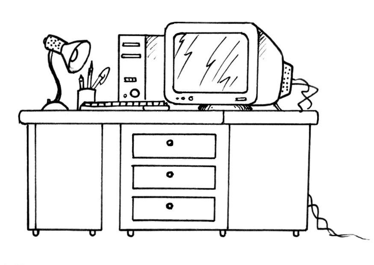 Coloring page desk and computer img 8190 for Bureau dessin