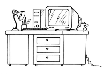 Coloring page desk and computer