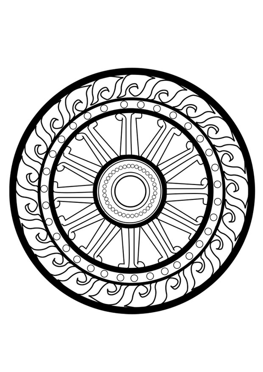 Coloring page dharma wheel