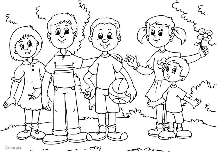 Coloring page different colour of skin