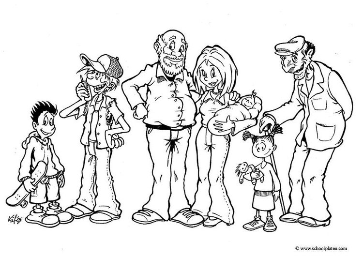 Coloring page different generations