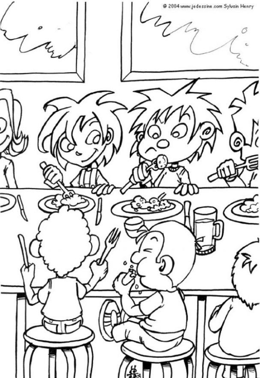 Coloring page dining hall