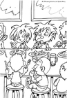 Coloring pages dining hall