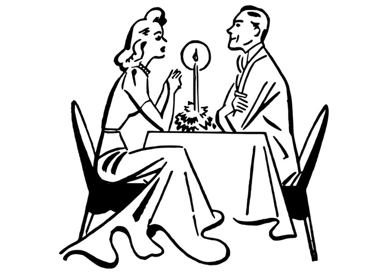 Coloring page dinner by candlelight