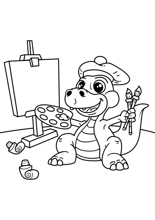 Coloring page dinosaur artist