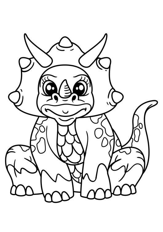 Coloring page dinosaur girl