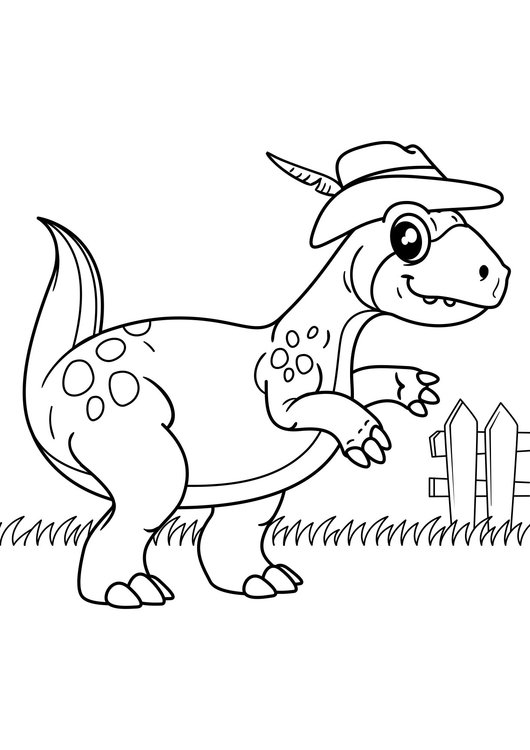 Coloring page dinosaur goes for a walk
