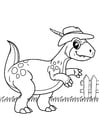 Coloring pages dinosaur goes for a walk