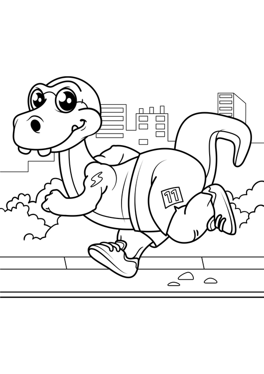 Coloring page dinosaur goes jogging