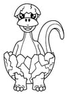 Coloring pages dinosaur hatches from egg