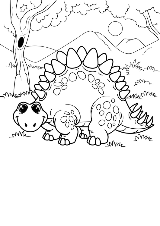 Coloring page dinosaur in the forest
