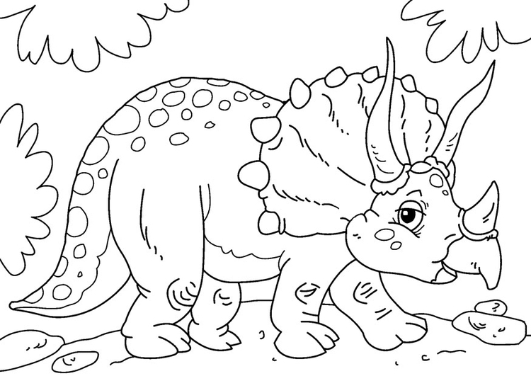 Coloring page dinosaur - triceratops