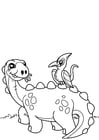 Coloring pages dinosaur with bird