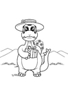Coloring pages dinosaur with gift