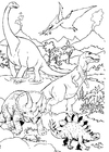 Coloring pages Dinosaurs in landscape