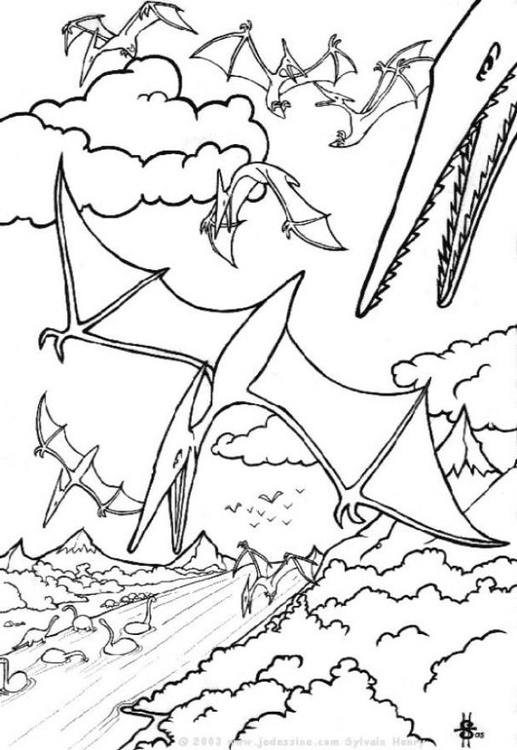Coloring page dinosaurs in the air