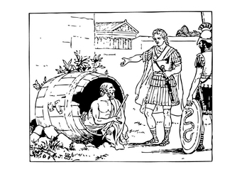 Coloring page Diogenes and Alexander