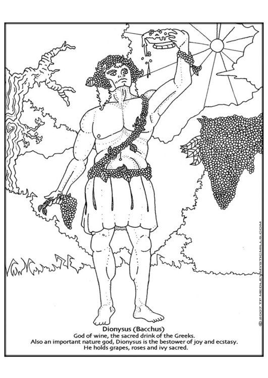 Coloring page Dionyssus, Bacchus