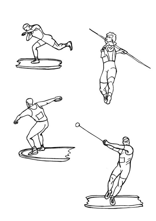 Coloring page discus and javelin