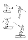 Coloring pages discus and javelin