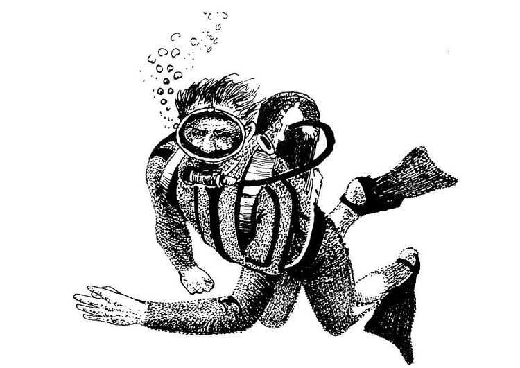 Coloring page diver - plunger
