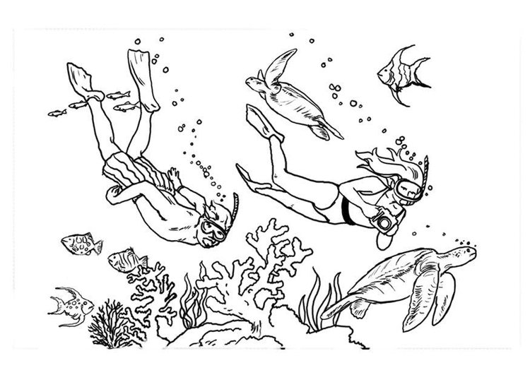Coloring page diving