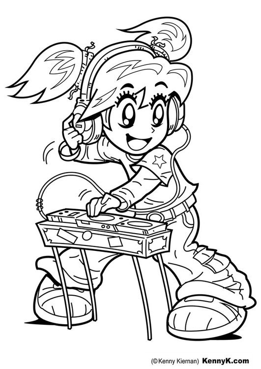 Coloring page DJ