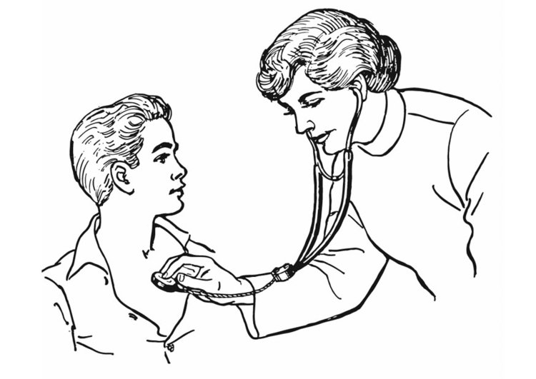 Coloring page doctor - examination