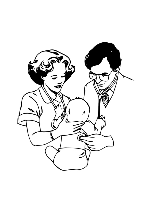 Coloring page doctor with baby