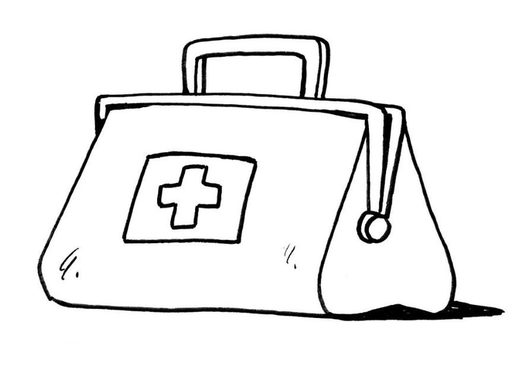 Coloring page doctors bag