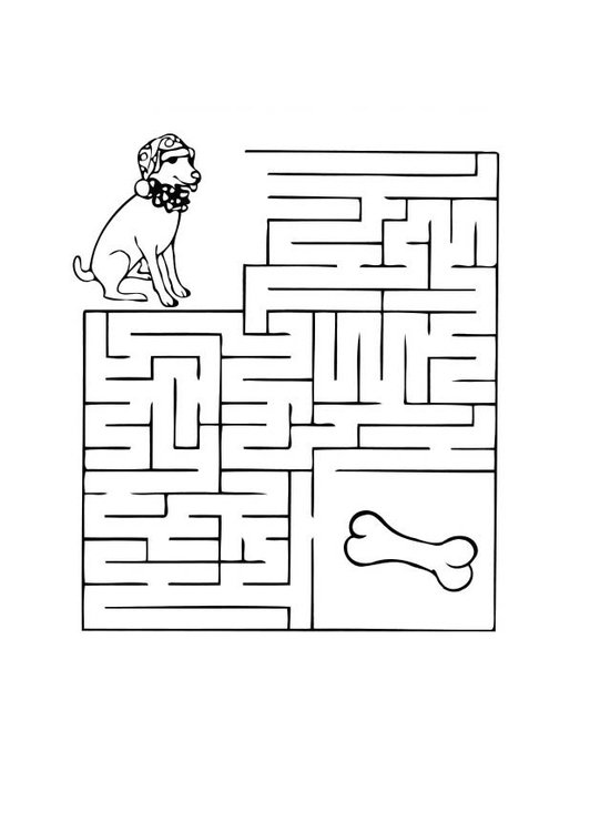 Coloring page dog maze