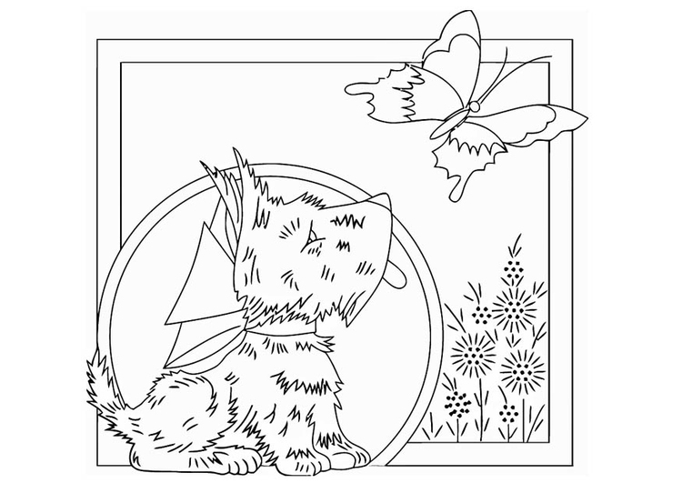 Coloring page dog with butterfly