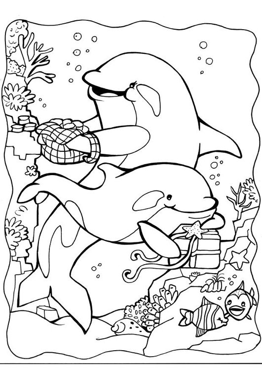 Coloring page dolphins 2