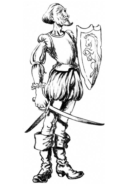 Coloring page Don Quijote