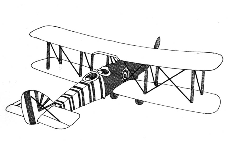 Coloring page double decker airplane