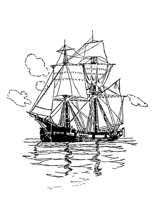 Coloring page double mast sailing ship