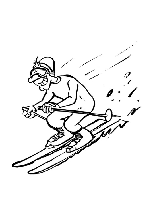 Coloring page downhill skiing