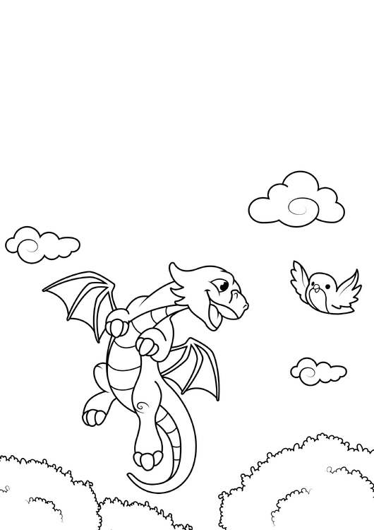 Coloring page dragon flies with bird